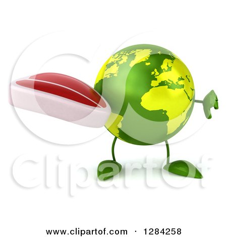 Clipart of a 3d Green Earth Character Holding a Thumb down and a Beef Steak - Royalty Free Illustration by Julos