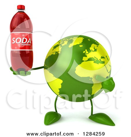 Clipart of a 3d Green Earth Character Holding and Pointing to a Soda Bottle - Royalty Free Illustration by Julos
