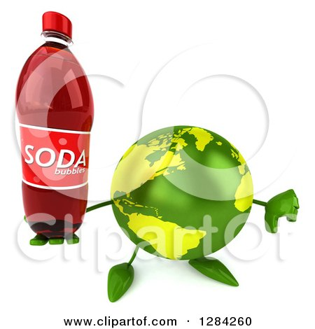Clipart of a 3d Green Earth Character Holding up a Soda Bottle and Thumb down - Royalty Free Illustration by Julos