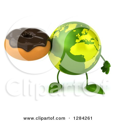 Clipart of a 3d Green Earth Character Holding a Chocolate Frosted Donut - Royalty Free Illustration by Julos