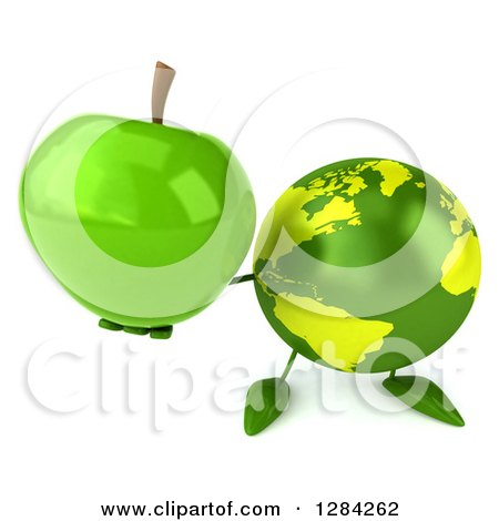 Clipart of a 3d Green Earth Character Holding up a Green Apple - Royalty Free Illustration by Julos