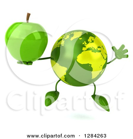 Clipart of a 3d Green Earth Character Jumping and Holding a Green Apple - Royalty Free Illustration by Julos