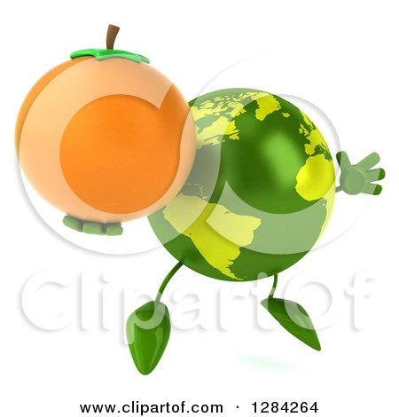 Clipart of a 3d Green Earth Character Facing Slightly Right, Jumping and Holding an Orange - Royalty Free Illustration by Julos