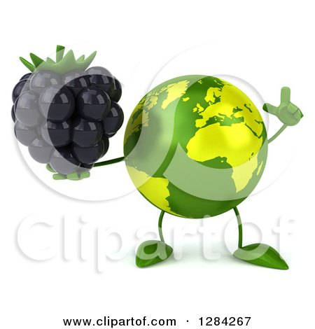 Clipart of a 3d Green Earth Character Holding up a Finger and a Blackberry - Royalty Free Illustration by Julos