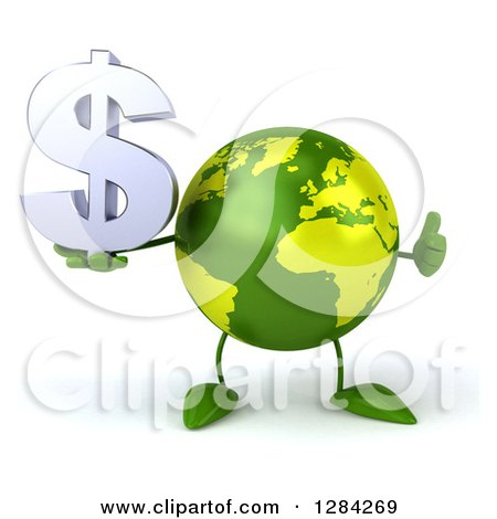 Clipart of a 3d Green Earth Character Holding a Thumb up and a Dollar Currency Symbol - Royalty Free Illustration by Julos
