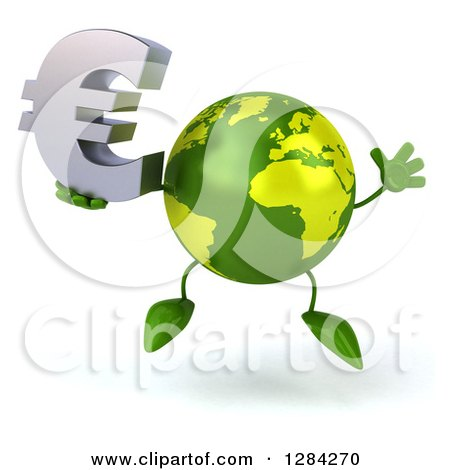 Clipart of a 3d Green Earth Character Jumping and Holding a Euro Currency Symbol - Royalty Free Illustration by Julos