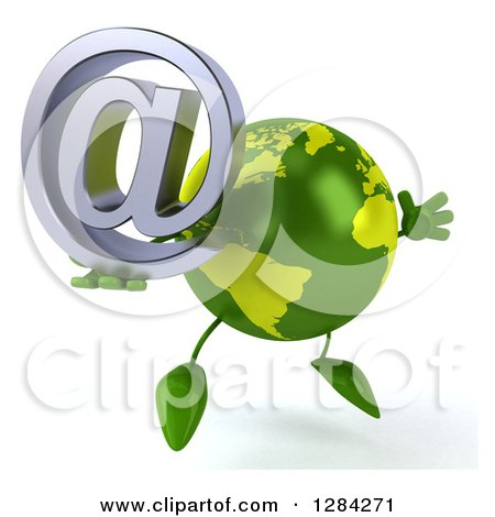 Clipart of a 3d Green Earth Character Facing Slightly Right, Jumping and Holding an Email Arobase at Symbol - Royalty Free Illustration by Julos