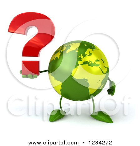 Clipart of a 3d Green Earth Character Holding a Question Mark - Royalty Free Illustration by Julos