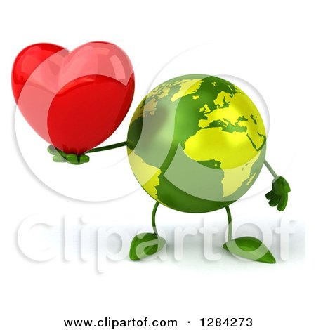 Clipart of a 3d Green Earth Character Holding a Heart - Royalty Free Illustration by Julos