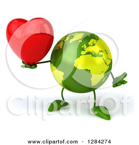 Clipart of a 3d Green Earth Character Shrugging and Holding a Heart - Royalty Free Illustration by Julos