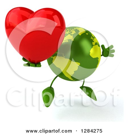 Clipart of a 3d Green Earth Character Facing Slightly Right, Jumping and Holding a Heart - Royalty Free Illustration by Julos
