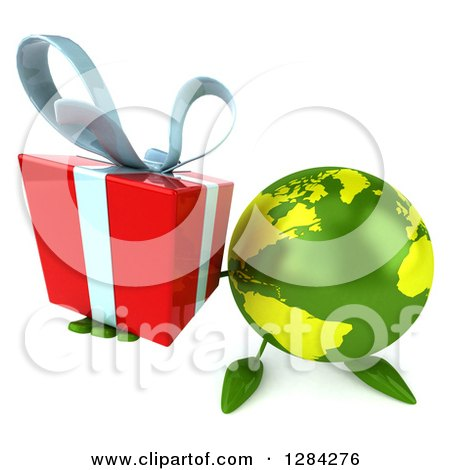 Clipart of a 3d Green Earth Character Holding up a Gift - Royalty Free Illustration by Julos