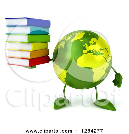 Clipart of a 3d Green Earth Character Holding a Stack of Books - Royalty Free Illustration by Julos