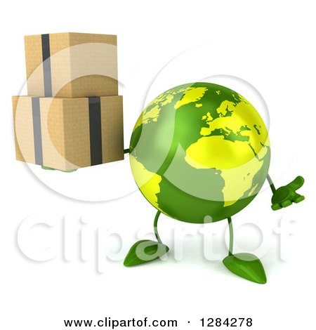 Clipart of a 3d Green Earth Character Shrugging and Holding Boxes - Royalty Free Illustration by Julos