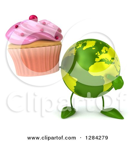 Clipart of a 3d Green Earth Character Holding and Pointing to a Pink Frosted Cupcake - Royalty Free Illustration by Julos