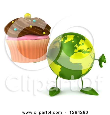 Clipart of a 3d Green Earth Character Holding a Thumb down and a Chocolate Frosted Cupcake - Royalty Free Illustration by Julos
