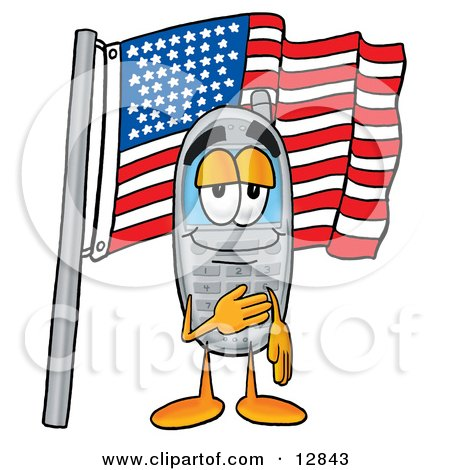 Clipart Picture of a Wireless Cellular Telephone Mascot Cartoon Character Pledging Allegiance to an American Flag by Toons4Biz