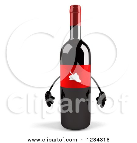 Clipart of a 3d Red Grape Label Wine Bottle Mascot - Royalty Free Illustration by Julos