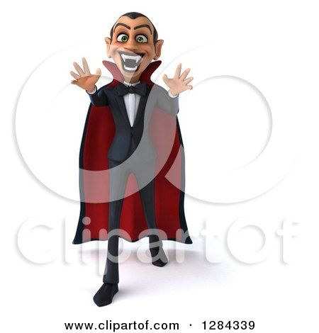 Clipart of a 3d Dracula Vampire Walking and Reaching out - Royalty Free Illustration by Julos