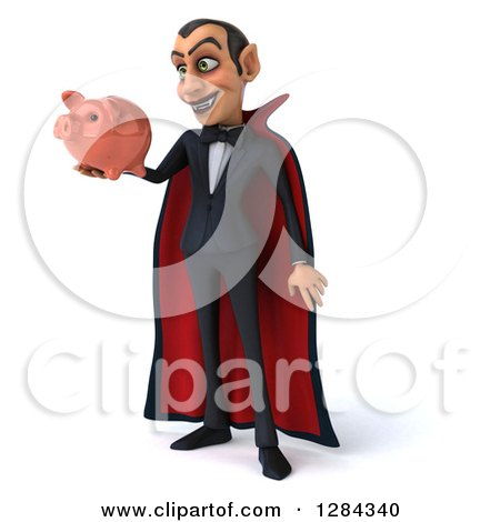 Clipart of a 3d Dracula Vampire Facing Slightly Left, Smiling and Holding a Piggy Bank - Royalty Free Illustration by Julos