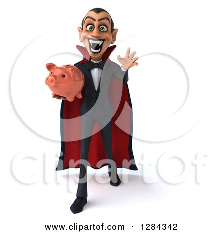 Clipart of a 3d Menacing Dracula Vampire Reaching out and Holding a Piggy Bank - Royalty Free Illustration by Julos
