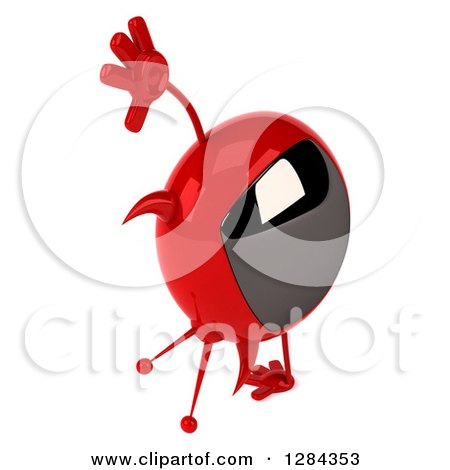 Clipart of a 3d Evil Devil Tv Cartwheeling and Facing Right - Royalty Free Illustration by Julos