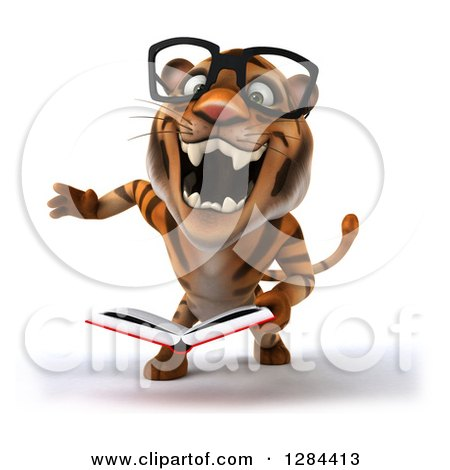 Clipart of a 3d Bespectacled Tiger Roaring and Reading a Book - Royalty Free Illustration by Julos