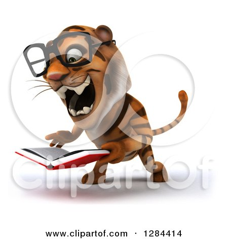 Clipart of a 3d Bespectacled Tiger Facing Slightly Left, Roaring and Reading a Book - Royalty Free Illustration by Julos