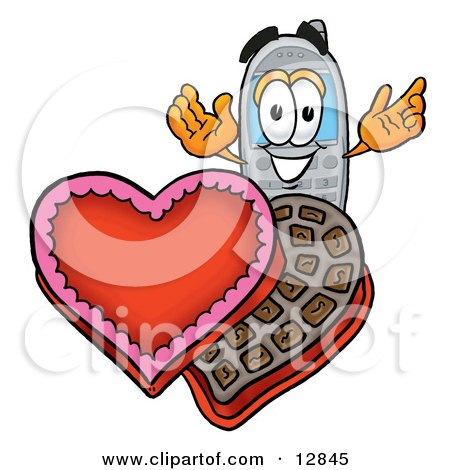 Clipart Picture of a Wireless Cellular Telephone Mascot Cartoon Character With an Open Box of Valentines Day Chocolate Candies by Toons4Biz