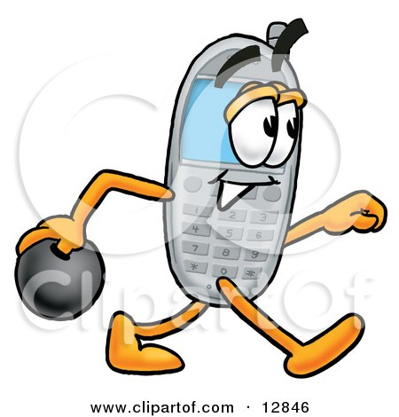 Clipart Picture of a Wireless Cellular Telephone Mascot Cartoon Character Holding a Bowling Ball by Toons4Biz