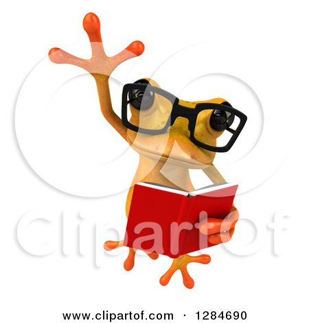 Clipart of a 3d Bespectacled Yellow Frog Leaping and Reading a Book - Royalty Free Illustration by Julos
