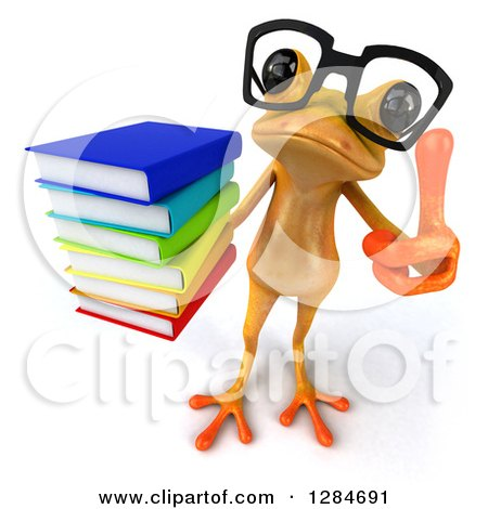 Clipart of a 3d Bespectacled Yellow Frog Looking Up, Holding up a Thumb and a Stack of Books - Royalty Free Illustration by Julos