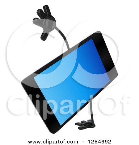 Clipart of a 3d Smart Phone Character Cartwheeling - Royalty Free Illustration by Julos