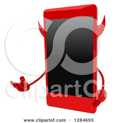 Clipart of a 3d Devil Smart Phone Character Presenting - Royalty Free Illustration by Julos