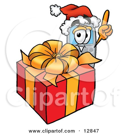 Clipart Picture of a Wireless Cellular Telephone Mascot Cartoon Character Standing by a Christmas Present by Toons4Biz