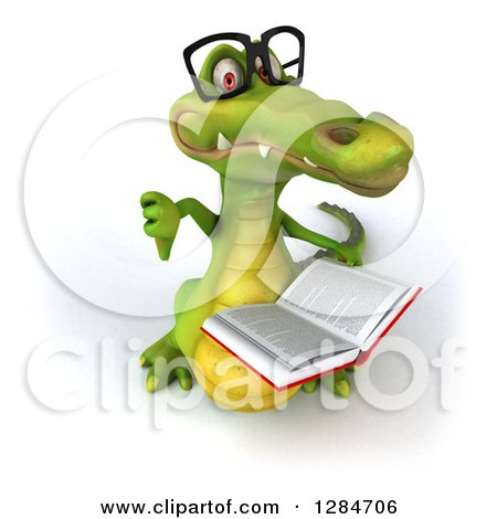 Clipart of a 3d Bespectacled Crocodile Looking Up, Reading a Book and Holding a Thumb down - Royalty Free Illustration by Julos