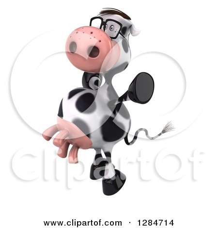 Clipart of a 3d Bespectacled Cow Facing Left and Jumping - Royalty Free Illustration by Julos