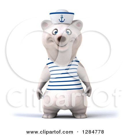 Clipart of a 3d Polar Bear Sailor - Royalty Free Illustration by Julos