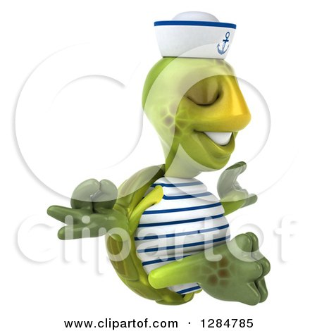 Clipart of a 3d Tortoise Sailor Facing Right and Meditating - Royalty Free Illustration by Julos