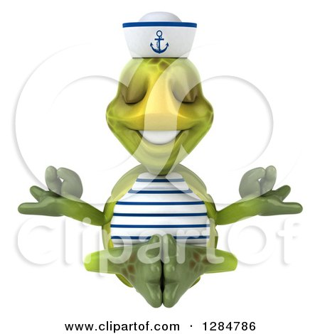 Clipart of a 3d Tortoise Sailor Meditating - Royalty Free Illustration by Julos