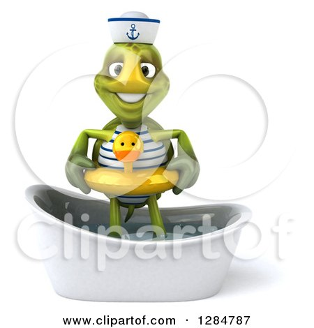 Clipart of a 3d Tortoise Sailor Wearing a Duck Inner Tube and Standing in a Bath Tub - Royalty Free Illustration by Julos
