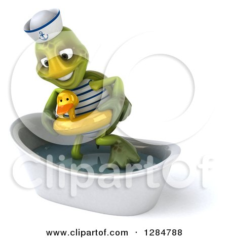 Clipart of a 3d Tortoise Sailor Wearing a Duck Inner Tube and Stepping in a Bath Tub - Royalty Free Illustration by Julos