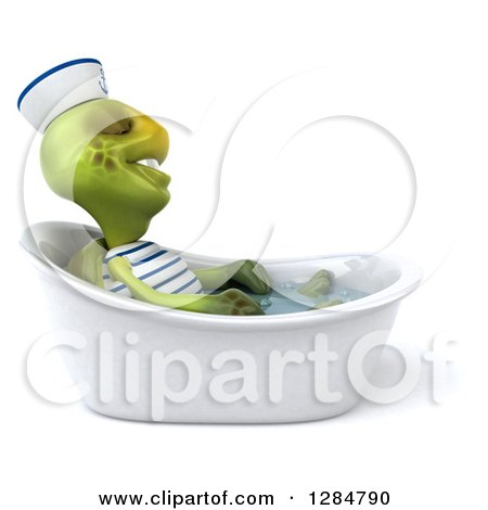 Clipart of a 3d Tortoise Sailor Relaxing in a Bath Tub - Royalty Free Illustration by Julos