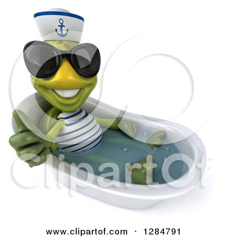 Clipart of a 3d Tortoise Sailor Wearing Sunglases, Holding a Thumb up and Bathing in a Tub - Royalty Free Illustration by Julos