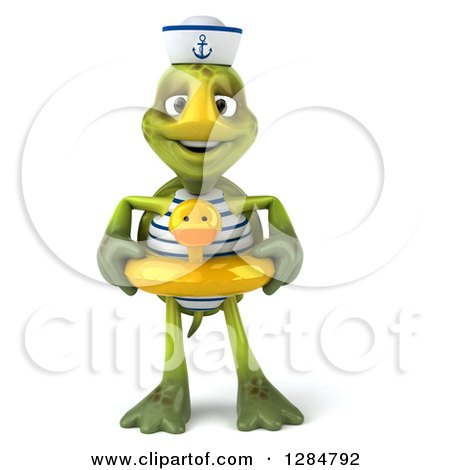 Clipart of a 3d Tortoise Sailor Wearing a Duck Inner Tube - Royalty Free Illustration by Julos
