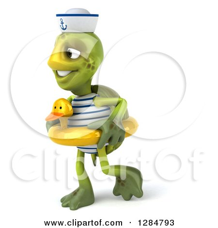 Clipart of a 3d Tortoise Sailor Walking and Wearing a Duck Inner Tube - Royalty Free Illustration by Julos