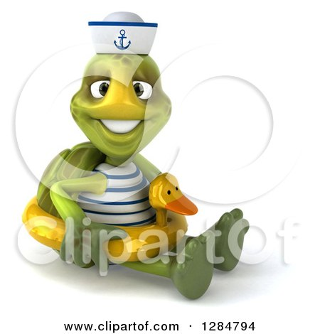 Clipart of a 3d Tortoise Sailor Sitting and Wearing a Duck Inner Tube - Royalty Free Illustration by Julos