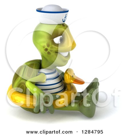 Clipart of a 3d Tortoise Sailor Facing Right, Sitting and Wearing a Duck Inner Tube - Royalty Free Illustration by Julos