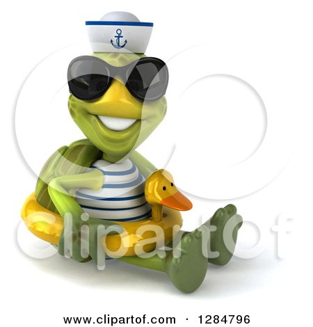 Clipart of a 3d Tortoise Sailor Wearing Sunglasses, Sitting and Wearing a Duck Inner Tube - Royalty Free Illustration by Julos