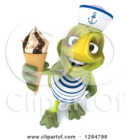 Clipart of a 3d Tortoise Sailor Holding up a Waffle Ice Cream Cone - Royalty Free Illustration by Julos